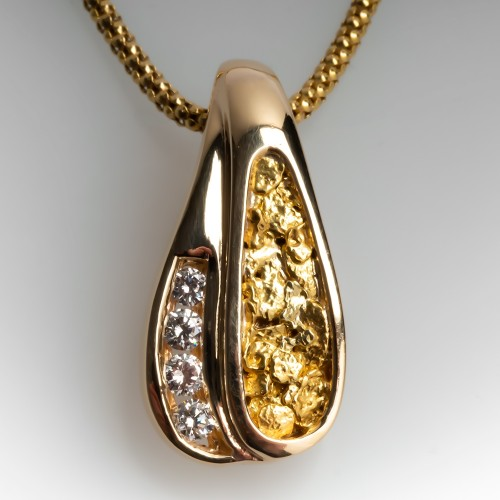 Diamond Gold Nugget Slide Pendant Necklace 16-Inch