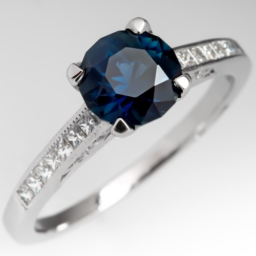 No Heat Deep Teal Sapphire Engagement Ring Platinum Tacori