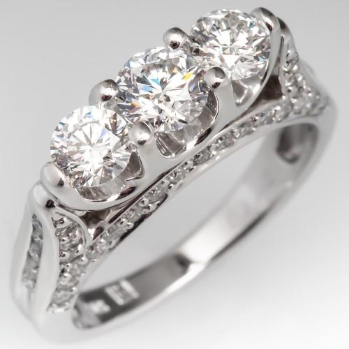 Three Stone Modern Diamond Engagement Ring 14K