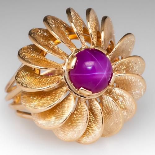 Created Pink Star Sapphire Starburst Cocktail Ring 14K Gold