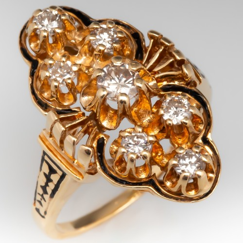 Vintage North to South Diamond Ring w/ Enamel Details 14K