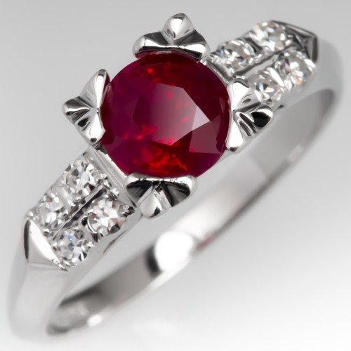 Vintage Ruby Engagement Ring W Diamonds Details Platinum