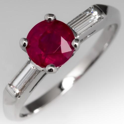 1.2 Carat Ruby Engagement Ring Platinum & Baguette Diamonds