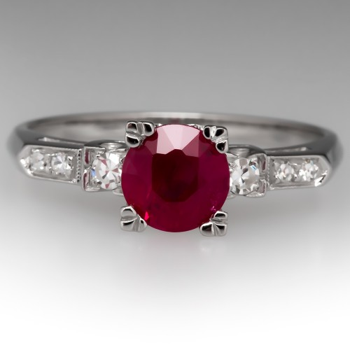 Vintage 1 Carat Ruby Engagement Ring Platinum w/ Diamonds
