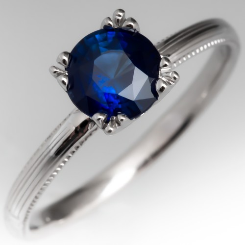 Blue Sapphire Solitaire Engagement Ring Fishtail Head 18K