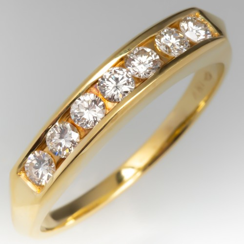 Channel Set Diamond Wedding Band 18K Yellow Gold