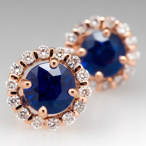 Beautiful Blue Sapphire Stud Earrings Rose Gold Diamond Halo