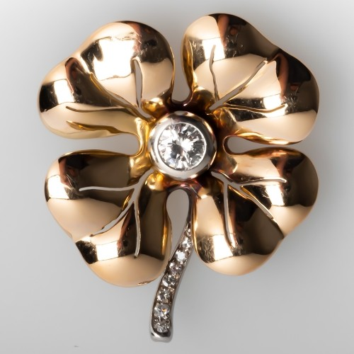 Vintage Lucky 4 Leaf Clover Pendant Diamond 14K Gold & Platinum