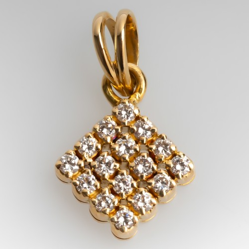 Small 18K Yellow Gold Cluster Diamond Slide Pendant