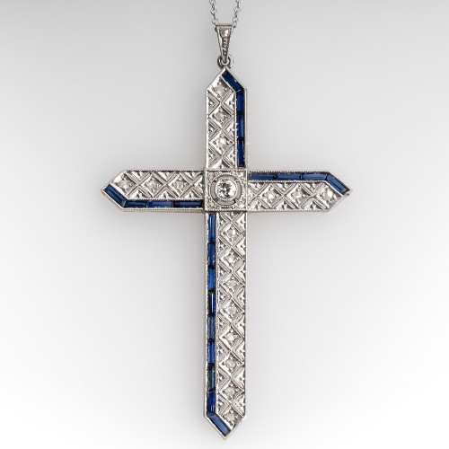 Antique Rose Cut Diamond Filigree Cross Pendant Necklace 18K & Platinum