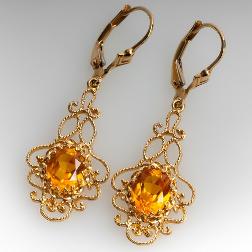 Openwork Citrine Dangle Earrings 14K Yellow Gold