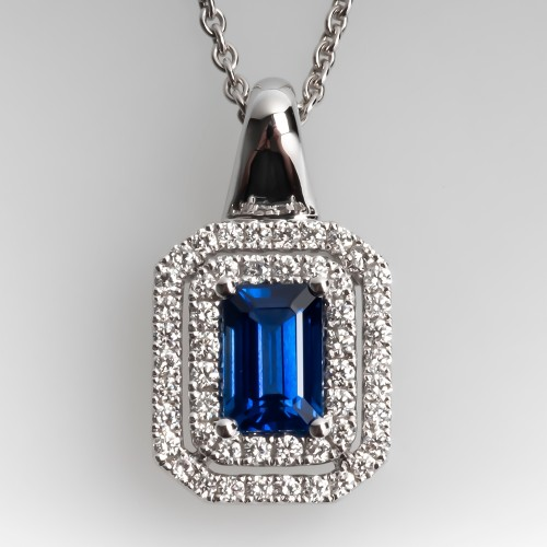 Spark Blue Sapphire Diamond Halo Pendant Necklace 18K