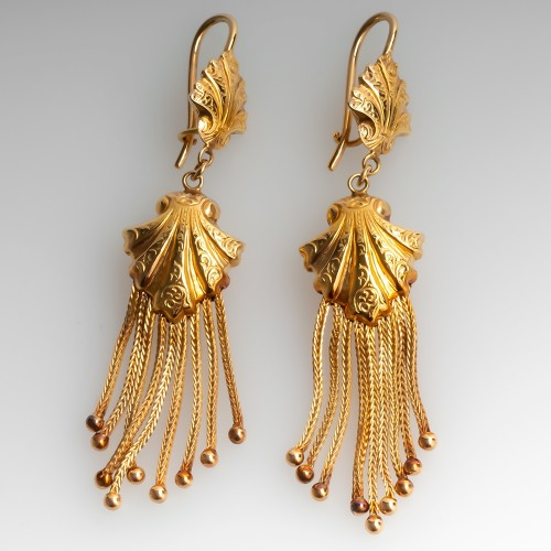 Vintage Flapper Style Gold Dangle Earrings 14K Yellow Gold