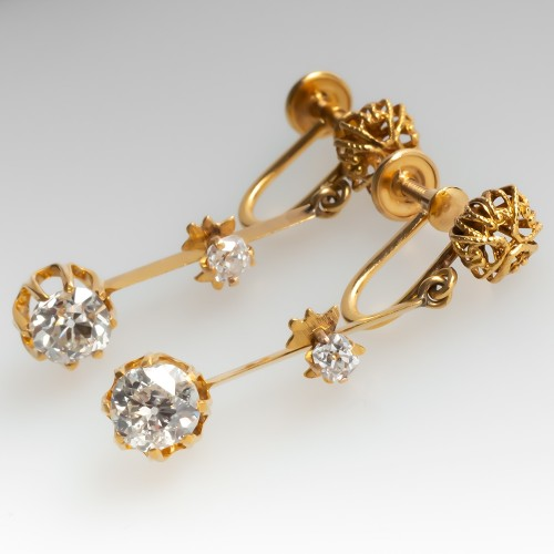 Antique Old Mine Cut Diamond Drop Earrings 14K Gold