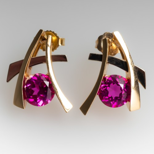Lab Created Pink Sapphire Drop Earrings 14K Gold Medium Size