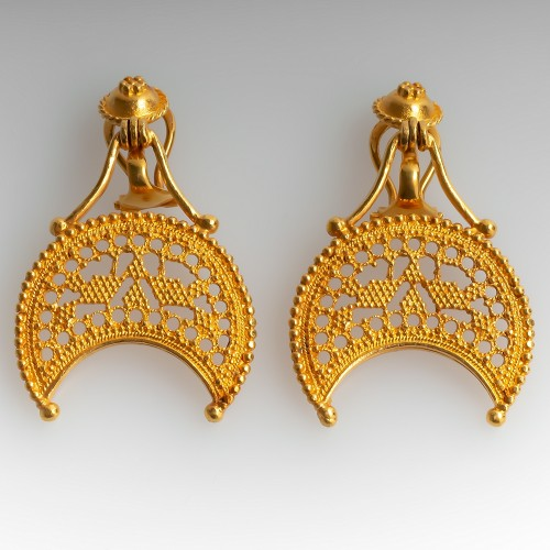 Ilias Lalaounis 18K Yellow Gold Intricate Detailed Large Earrings Clamp Backs