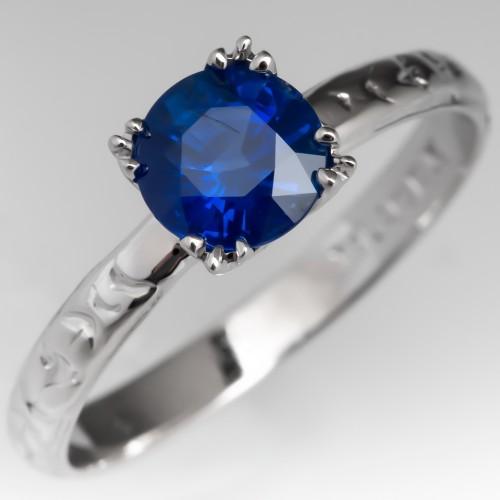 Blue Sapphire Solitaire Engagement Ring Vintage Belais Engraved Band 18K