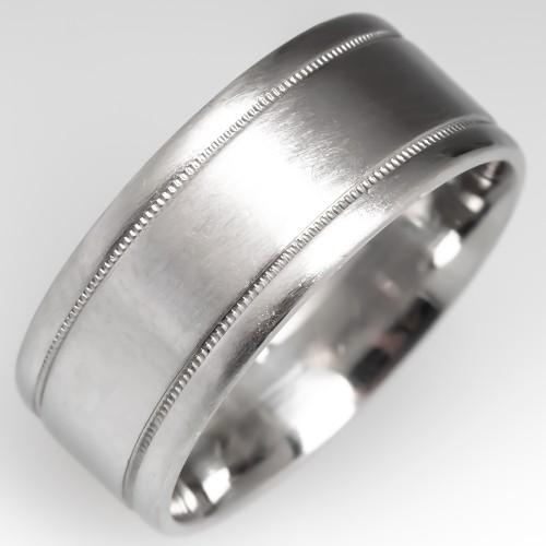 Unisex Platinum Wedding Band 8MM Wide, Size 7.75