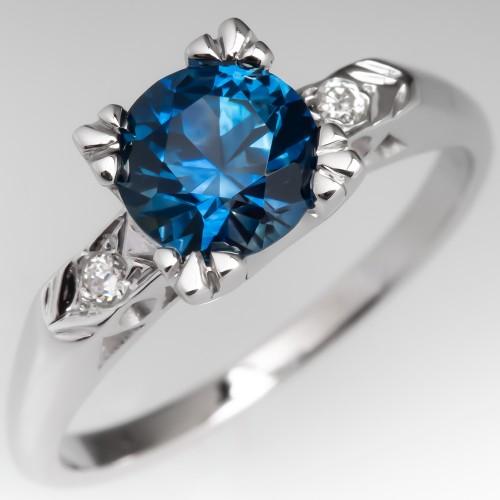 No Heat Montana Sapphire Engagement Ring 1950's Mounting 18K