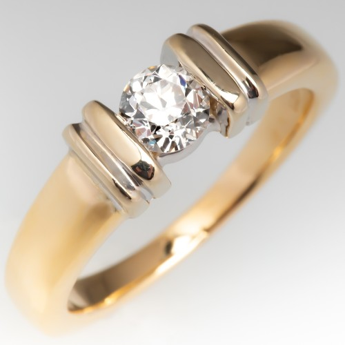 14K Yellow Gold Channel Set Old Euro Diamond Engagement Ring