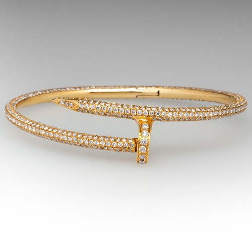 7 Carat Diamond Encrusted Bangle Bracelet 18K Yellow Gold Nail Design