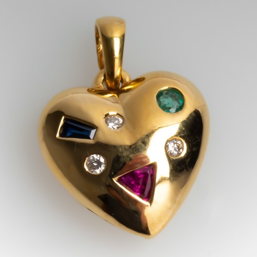 Ruby Emerald Sapphire Diamond Gemstone Heart Slide Pendant 18K Yellow Gold Small Size
