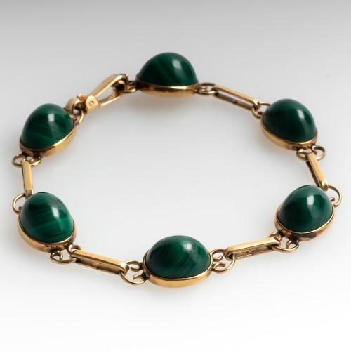 Vintage Malachite Station Gemstone Bracelet 9 Karat Gold