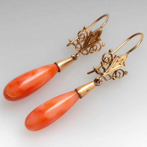 Vintage Natural Coral Dangle Earrings 14K Gold