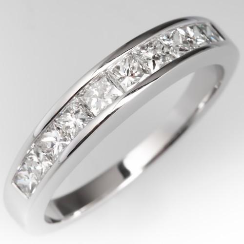 Channel Set Princess Cut Diamond Wedding Band Ring 14K White Gold