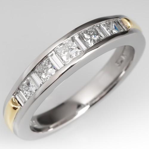 Princess Cut & Baguette Cut Diamond Wedding Band Ring Platinum & 18K Yellow Gold