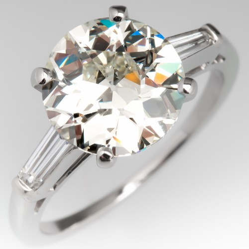 3 Carat Old European Cut Diamond Engagement Ring