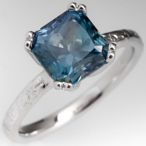 3.8CT No Heat Montana Sapphire Solitaire Engagement Ring 18K