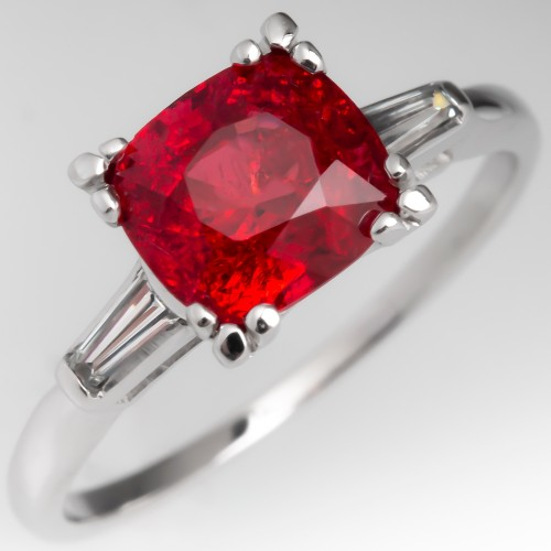Vivid Red Orange Spinel Ring w/ Baguette Diamonds