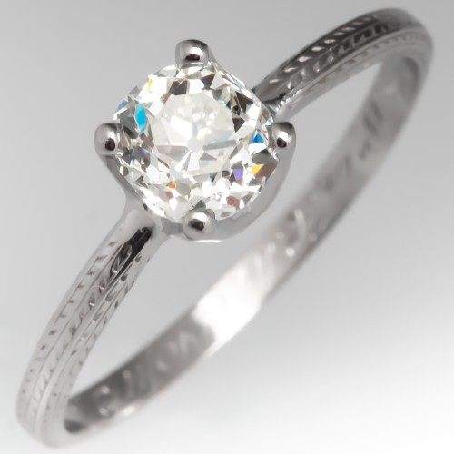Old Mine Cut Diamond Solitaire Engagement Ring Antique Engraved Wedding Band