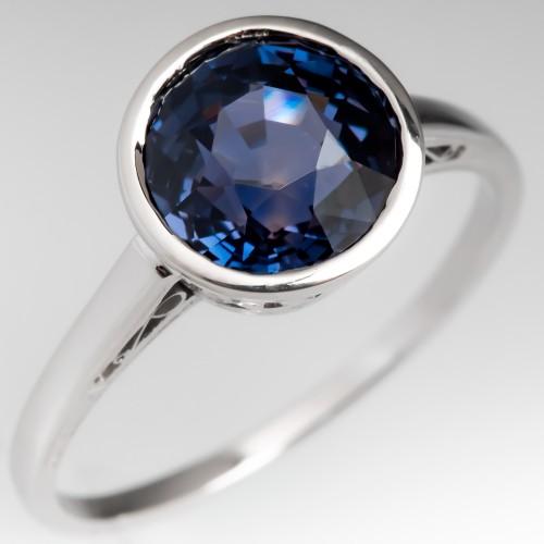 Color Change No Heat 3.6 Carat Sapphire Bezel Engagement Ring 14K