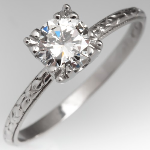 Engraved Diamond Solitaire Engagement Ring Detailed Vintage Wedding Band