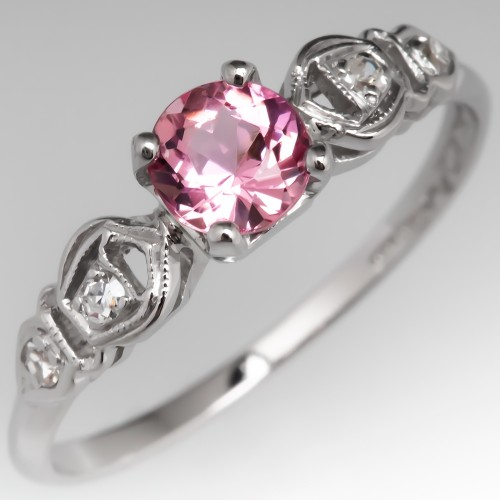 Untreated Orangey Pink Imperial Topaz Engagement Ring Vintage Platinum Mounting