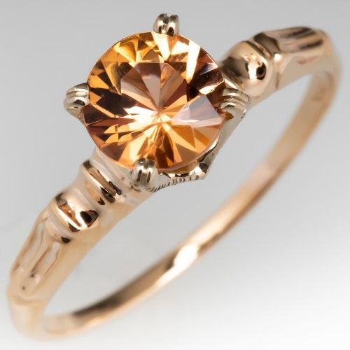 Untreated Yellowish Orange Imperial Topaz Engagement Ring 14K