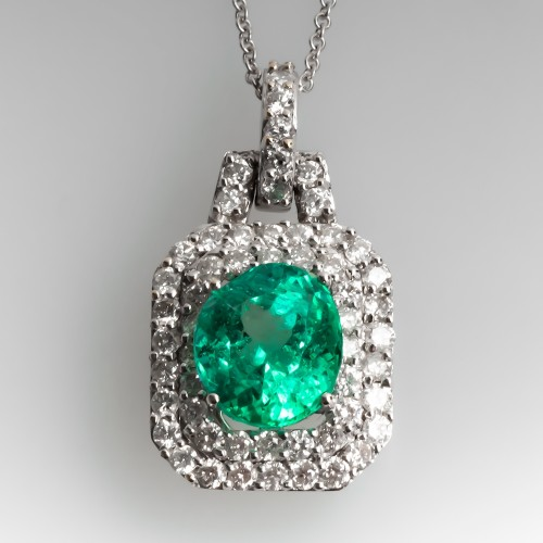 Stunning Emerald & Diamond Pendant Necklace 18K