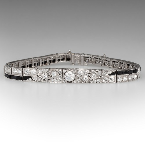 Circa 1930's Art Deco Diamond & Black Onyx Line Bracelet Platinum