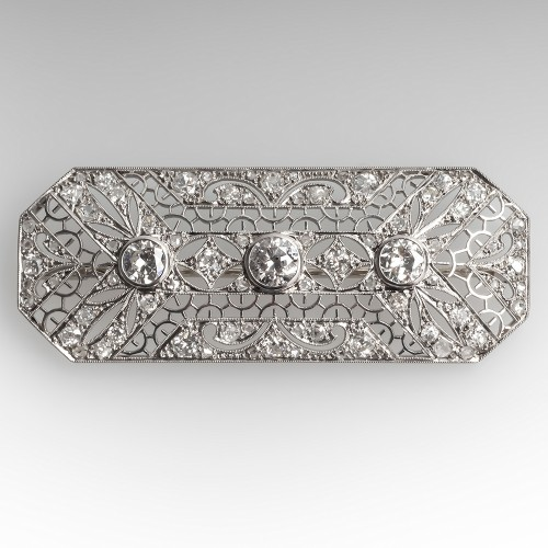 3.3 Carat 1930's Art Deco Ornate Filigree Diamond Brooch Pin Platinum