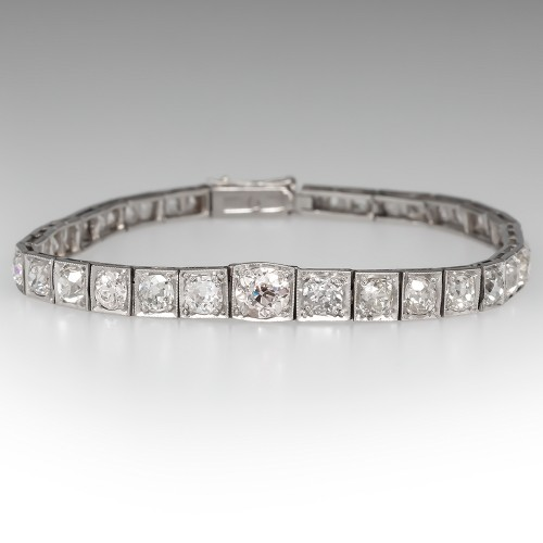 Magnificent Art Deco 1930's Graduating Diamond Line Bracelet Platinum 7-Inch 5.6CTW