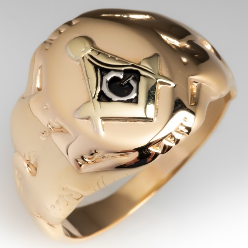 Antique Mens Masonic Ring 14K Yellow Gold