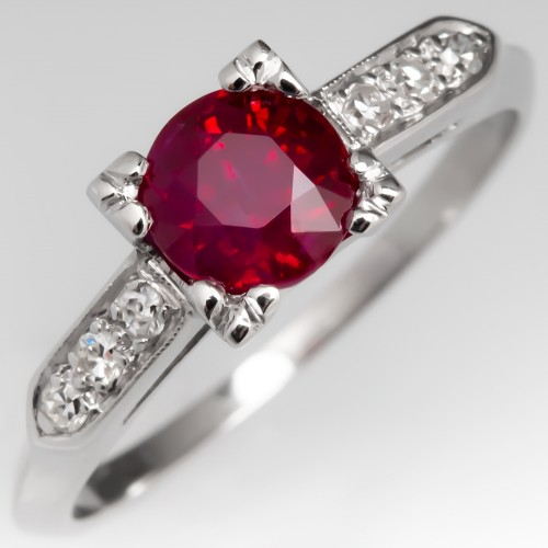 Vintage Platinum 1 Carat Ruby Engagement Ring w/ Diamond Accents