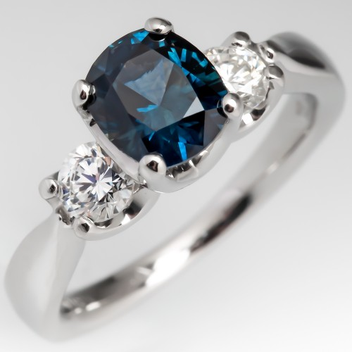 Montana Sapphire Three Stone Engagement Ring Verragio Diamond Mounting