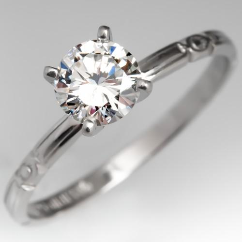 1/2 Carat Round Brilliant Diamond Engagement Ring Engraved Platinum