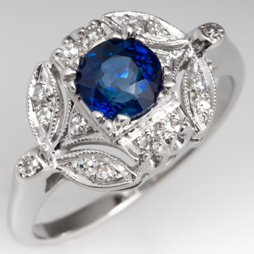 1.2 Carat Blue Sapphire & Diamond 14K White Gold Engagement Ring