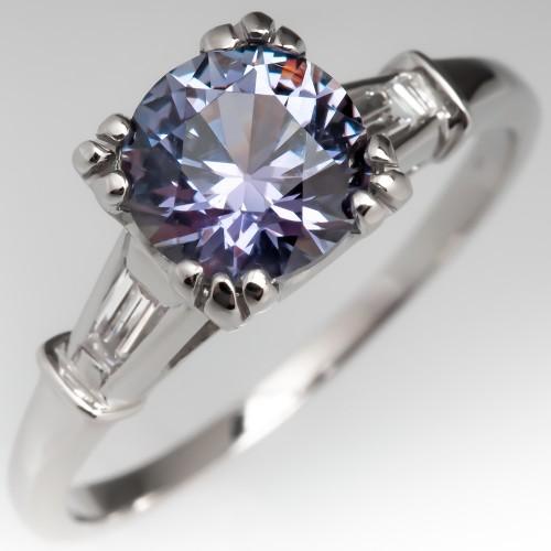 No Heat Natural Color Change Montana Sapphire Engagement Ring Vintage Mount