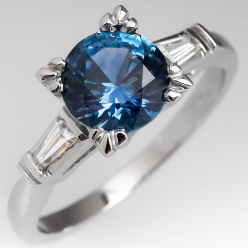 1.7 Carat Montana Sapphire Engagement Ring Fishtail Head Platinum