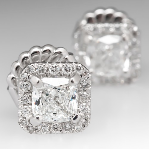 Cushion Diamond Halo Stud Earrings 1.80CTW F/VS